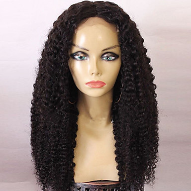 8a long natural black color kinky curly glueless full lace