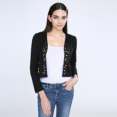 Women's White/Black Blazer,Shirt Collar Puff Sleeve