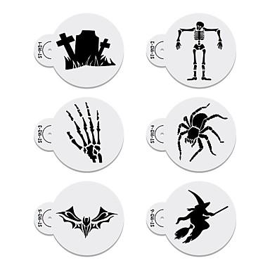 Halloween Cake Decorating Templates : 6pcs Halloween Stencil Templates Cookie &Cake Stencil Set ...
