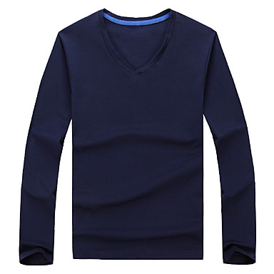 Men 39 S Korean V Neck Solid Casual Work Slim T Shirt
