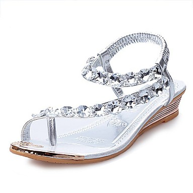 Women's Sandals Summer Comfort PU Casual Flat Heel Crystal Silver Gold Others