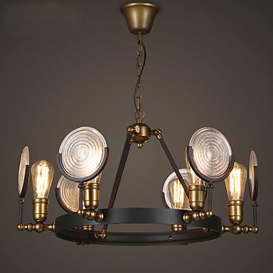 6 Heads Creative Vintage Glass Chandelier Metal Living Room Bedroom Dining Ro