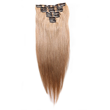 7 pcs set clip in hair extensions strawberry blonde 14inch