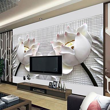 shinny leather effect large mural wallpaper 3d lotus art wall decor for living room tv soaf. Black Bedroom Furniture Sets. Home Design Ideas