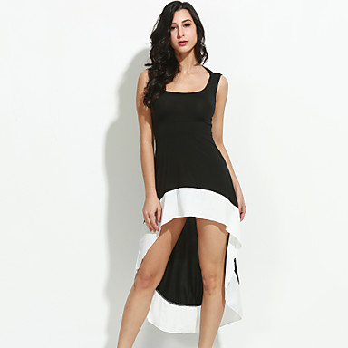 Women's Backless Patchwork Black/White Dress,Casual Deep U Sleeveless Backless