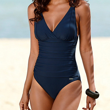 Women's Bandeau One-piece,Solid Polyester