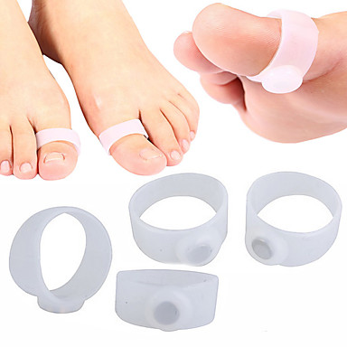 4 PCS White Silicone Magnetic Fitness Slimming Loss Weight Body Toe Rings