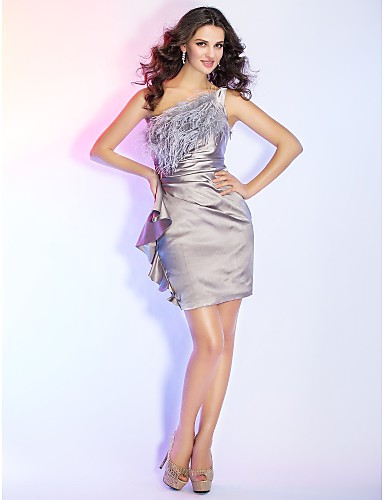 Buy Cocktail Party / Holiday Dress - Short Sheath Column One Shoulder Mini Satin Feathers Fur Side Draping