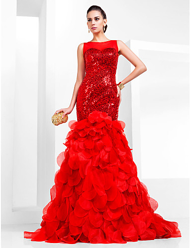 Buy Prom / Formal Evening Dress-Ruby Plus Size Petite Fit & Flare Bateau Court Train Organza Sequined