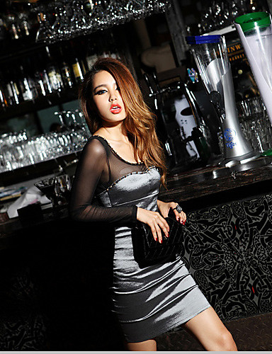 Buy Women's Club Sexy Sheath Dress,Color Block Deep U Mini Long Sleeve Seasons