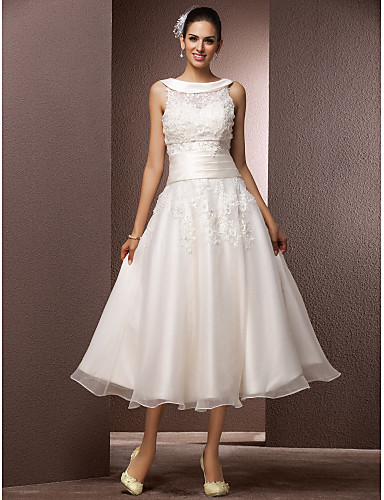 Wedding Dresses USD 99 : A line jewel neck tea length organza wedding dress with