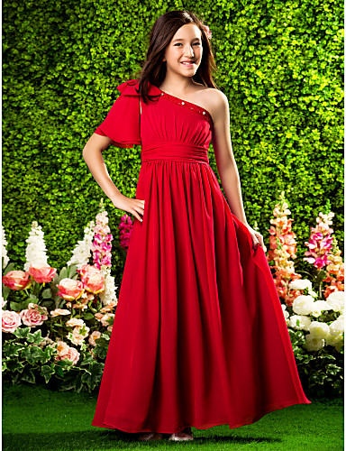 Buy Floor-length Chiffon Junior Bridesmaid Dress A-line / Princess One Shoulder Natural Beading Bow(s) Draping Ruching