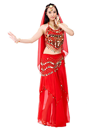 Buy Belly Dance Outfits Women's Performance Chiffon Beading / Coins Sequins 3 Pieces Hip Scarf Top Skirt