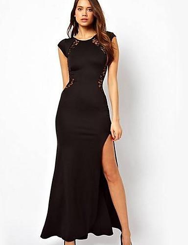 YHC Женская Секс Тонкий Макси кружевном платье