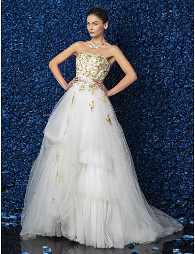 Buy Lanting Bride A-line / Princess Petite Plus Sizes Wedding Dress-Floor-length Strapless Lace Satin Tulle