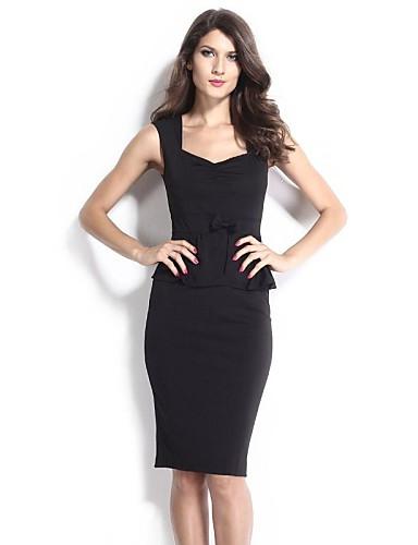 женская черная Ruched баски платье с бантом