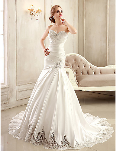 Trumpet mermaid petite plus sizes wedding dress chapel for Satin sweetheart mermaid wedding dress