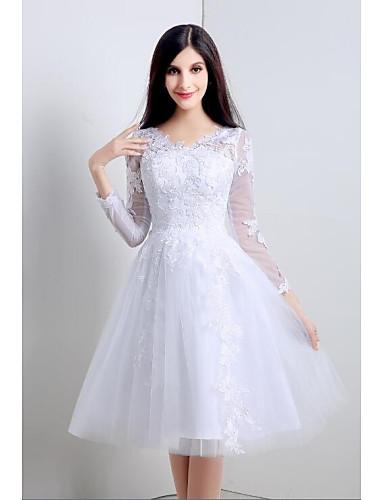 Buy A-line Wedding Dress See-Through Dresses Knee-length V-neck Tulle