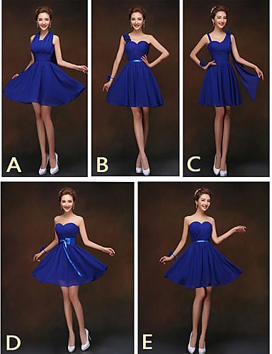 Short / Mini Bridesmaid Dress - Lace-up Sheath / Column ...