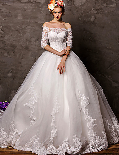 Ball Gown Wedding Dress Court Train Off The Shoulder Tulle With 3430841 2017 24999