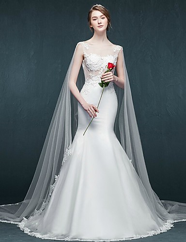 Mermaid Wedding Dress With Cathedral Train : Trumpet mermaid wedding dress cathedral train scoop tulle with