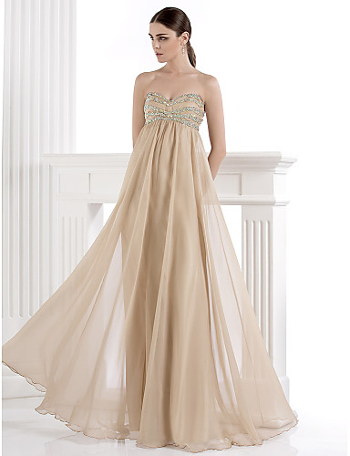 Buy Formal Evening Dress - Champagne Plus Sizes / Petite A-line Sweetheart Floor-length Chiffon Spandex
