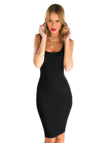 Buy Women's Club Bodycon Dress,Solid Deep U Knee-length Sleeveless Black / Gray Cotton Summer