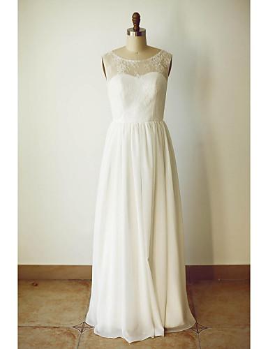 Buy A-line Wedding Dress - Ivory Floor-length Scoop Chiffon