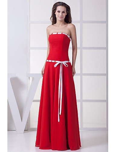 Buy Formal Evening Dress A-line Strapless Floor-length Chiffon Sash / Ribbon