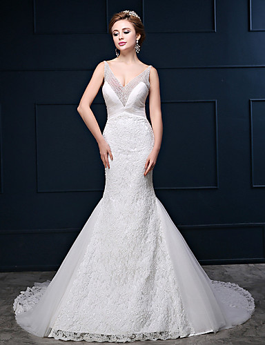 Trumpet mermaid wedding dress court train v neck lace for Mermaid wedding dresses under 500