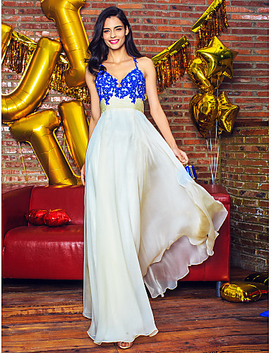 Buy TS Couture® Formal Evening Dress A-line Straps Floor-length Chiffon Appliques