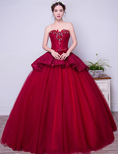 Buy Formal Evening Dress Ball Gown Strapless Floor-length Lace / Satin Tulle Stretch Beading Bow(s) Crystal Detailing