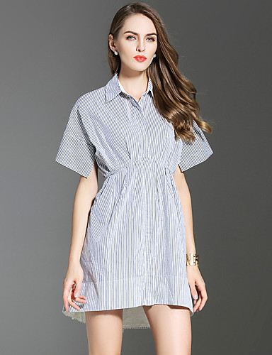 Buy ES·DANNUO Women's Going Sophisticated Sheath Dress,Striped Shirt Collar Mini Short Sleeve Gray Cotton Summer