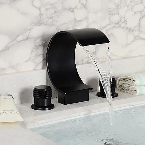 Antique Style Oil-gnuggade brons Finish Vattenfall två handtag ... : badkarsblandare vattenfall : Badkar