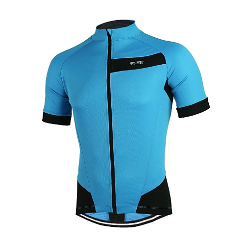 db57cf24523 Arsuxeo Men s Short Sleeve Cycling Jersey - Red Green Blue Solid Color Bike  Jersey Reflective Strips Back Pocket Sports Polyester Mountain Bike MTB  Road ...