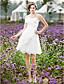 LAN TING BRIDE A-line Princess Wedding Dress - Chic & Modern Reception Little White Dress Knee-length Spaghetti Straps Lace Taffeta with