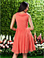 Lanting Knee-length Chiffon Bridesmaid Dress - Watermelon Plus Sizes / Petite A-line / Princess Cowl