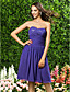 Lanting Bride® Knee-length Chiffon Bridesmaid Dress - A-line / Princess Strapless / Sweetheart Plus Size / Petite withDraping / Side