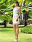 Lanting Sheath/Column Plus Sizes Wedding Dress - Ivory Short/Mini Jewel Chiffon/Tulle