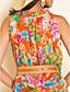 TS Print Sleeveless Chiffon Belted Midi Dress