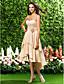 hjemkomst asymmetrisk / knælange chiffon brudepige kjole - champagne plus størrelser a-line / prinsesse kæreste / stropløs