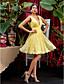 Lanting Bride® Ke kolenům Krajka Šaty pro družičky - A-Linie Do V Větší velikosti / Malé s