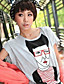 grappig portret afgedrukt ronde hals met korte mouwen t-shirt grijs