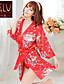 Robe de chambre / Ultra Sexy / Uniformes & Tenues Chinoises / Costumes Vêtement de nuit Femme Imprimé Soie Glacée Rouge Aux femmes