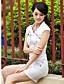 TS 드레스 자수장식 V 넥 민소매 무릎 위 면/폴리에스테르