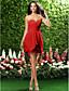 Lanting Bride® Curto / Mini Chiffon Vestido de Madrinha Tubinho Tomara que Caia / Coração Tamanhos Grandes / Mignon comPregueado /