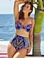 Ženski Bikini - Grudnjak s tankim naramenicama - Bez žice - Visokog struka / Geometrijski oblici - Najlon / Poliester