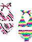 여자의 수영복 줄무늬 여름 나일론 / 스판덱스 멀티 색상 / 레드
