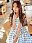 Ženski Haljina Slatko Korice Geometrijski oblici,Iznad koljena Kragna košulje Poliester / Spandex