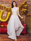 ts couture® báli hivatalos esti ruha-line ékszer aszimmetrikus sifon a gyöngyfűzés / izolálása